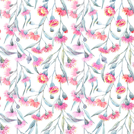 pattern: Watercolor eucalyptus pattern Stock Photo