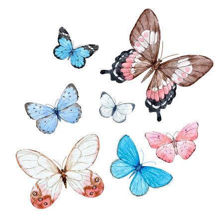 Watercolor butterflies set Banco de Imagens