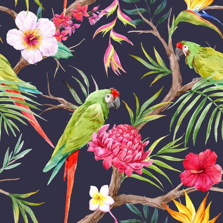 Watercolor tropical floral pattern Фото со стока