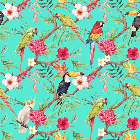 Watercolor tropical floral pattern 版權商用圖片