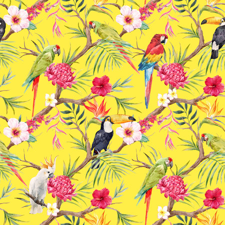 Watercolor tropical floral pattern Imagens