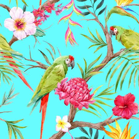 수채화 열대 꽃 무늬