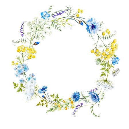 Corona floreale acquerello Archivio Fotografico - 77675251