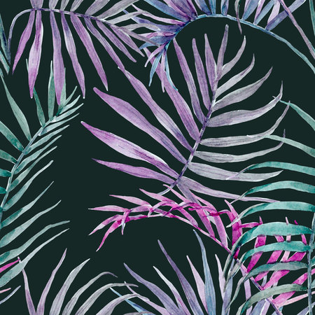 Watercolor tropical floral pattern Stock Photo