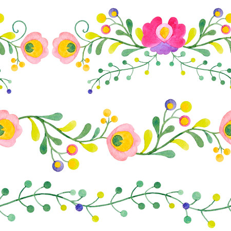 new plant: Beautiful compositions with hand drawn watercolor abstract flowers
