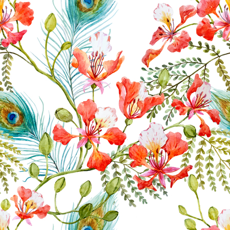 Beautiful pattern with hand drawn watercolor flowers and leaves 일러스트