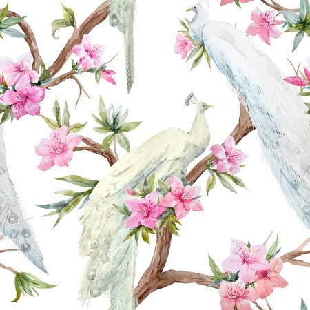 Waterverf vectorpauw en bloemenpatroon Stock Illustratie