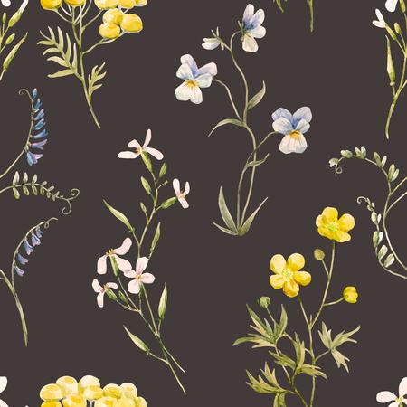 수채화 꽃 벡터 패턴