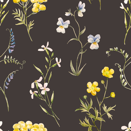 floral vintage: Watercolor floral vector pattern