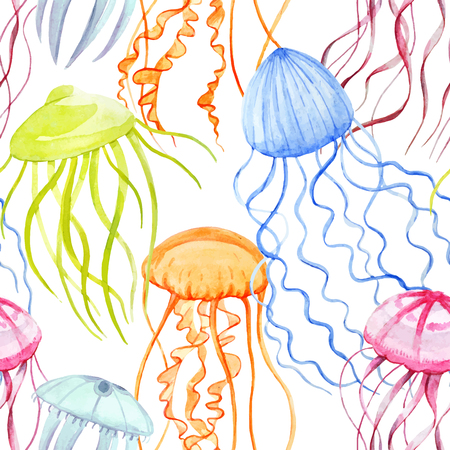 Watercolor vector jellyfish pattern 版權商用圖片 - 78073088