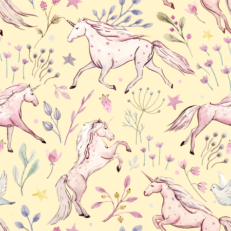floral vintage: Watercolor unicorn pattern
