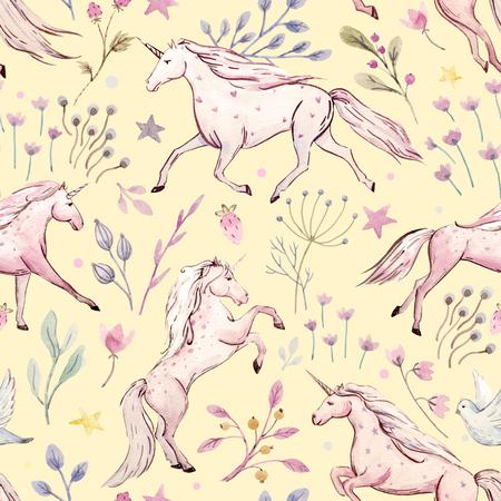 popular tale: Watercolor unicorn pattern