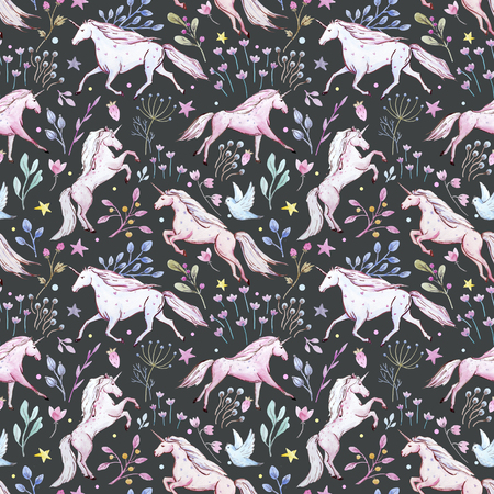 Watercolor unicorn pattern