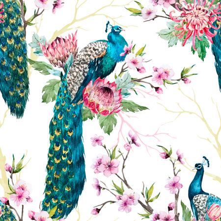 Watercolor peacock vector pattern