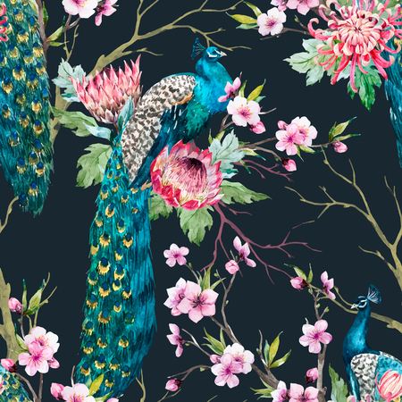 new plant: Watercolor peacock vector pattern