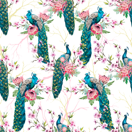 Beautiful vector pattern with nice hand drawn watercolor peacocks and flowers