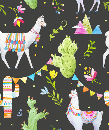 Watercolor lama pattern