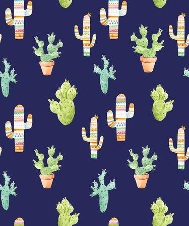 peyote: Beautiful seamless pattern with watercolor hand drawn cactus Stock Photo