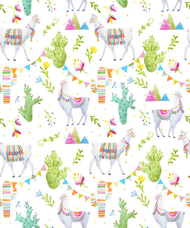 Seamless pattern with watercolor lama and abstract cactus and mountains