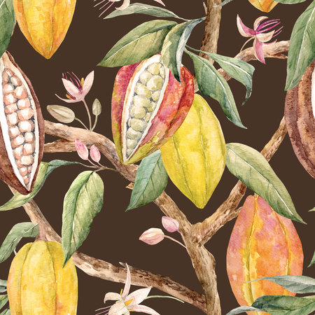 pattern: Watercolor cacao pattern Stock Photo