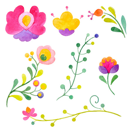 popular: Watercolor vector abstract flowers
