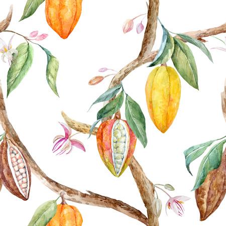 수채화 코코아 과일과 나뭇잎 열대 벡터 원활한 패턴