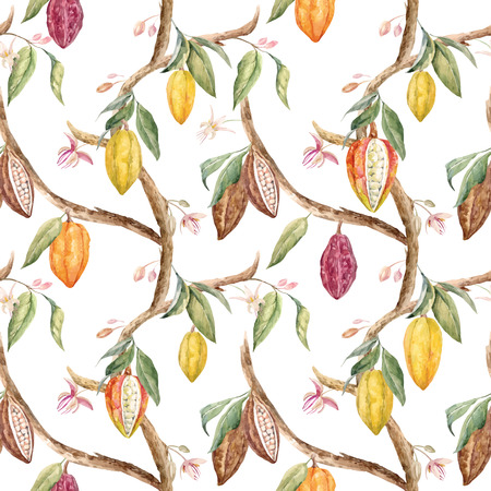 Tropical vector seamless pattern with watercolor cocoa fruits and leaves