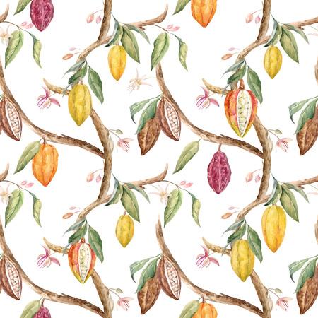 Forme tropicale sans vecteur avec aquarelle fruits et feuilles de cacao Banque d'images - 80192965