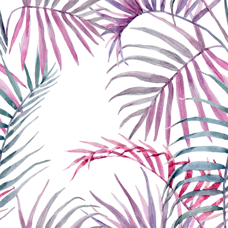 pattern: Watercolor vector tropical floral pattern