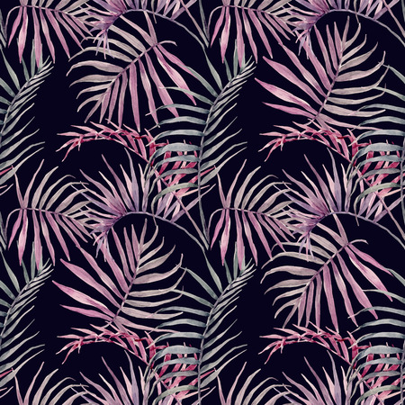 pattern: Beautiful vector pattern with hand drawn watercolor tropical palm leaves