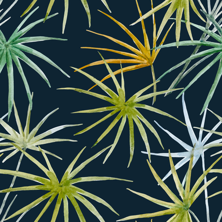 Beautiful vector pattern with hand drawn watercolor tropical palm leaves