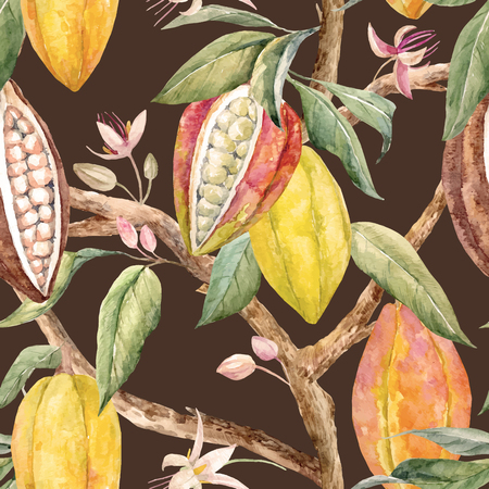Watercolor cacao vector pattern.