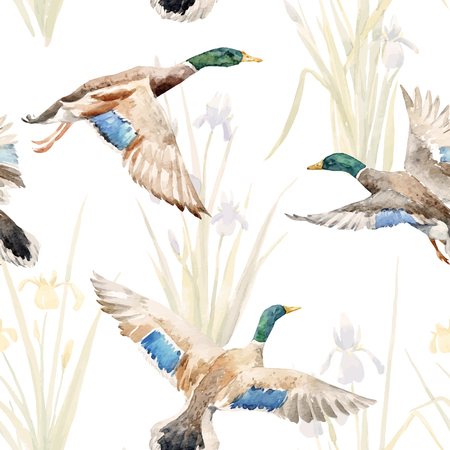 Watercolor vector pattern with ducks