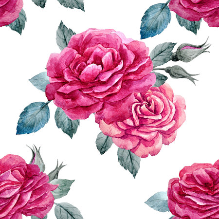 Beautiful seamless pattern with hand drawn watercolor roses Stock Photo