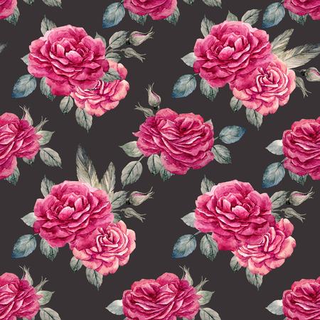 Watercolor rose seamless pattern