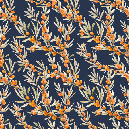 Watercolor sea buckthorn pattern