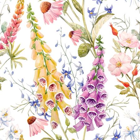 수채화 꽃 여름 벡터 패턴 일러스트