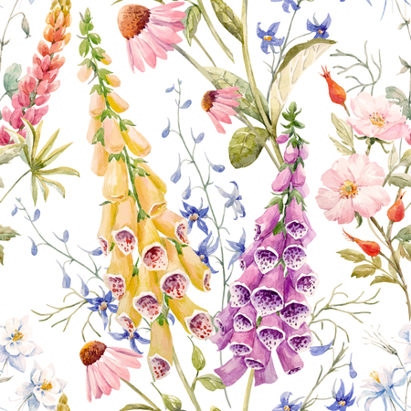 Watercolor floral summer vector pattern Stock fotó - 80713405