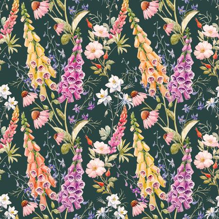水彩花夏ベクトル パターン
