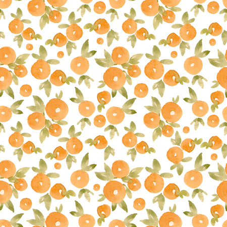 Watercolor vector abstract orange pattern, seamless background.