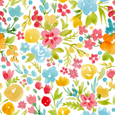 Watercolor vector abstract floral pattern Stock Vector - 80953180