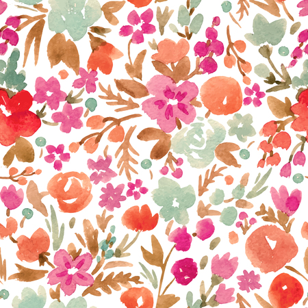 Watercolor vector abstract floral pattern