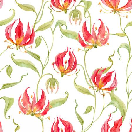 水彩ベクトル グロリオサ rothschildiana パターン
