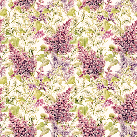 Watercolor vector lilac pattern