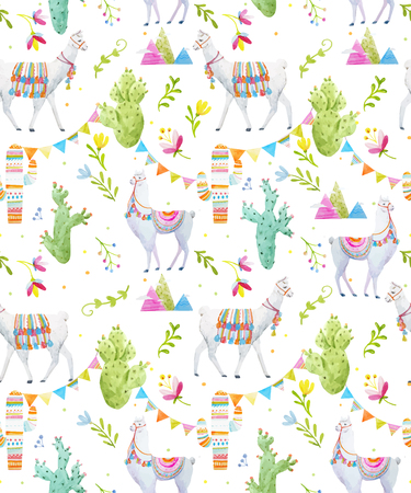 Watercolor lama vector pattern