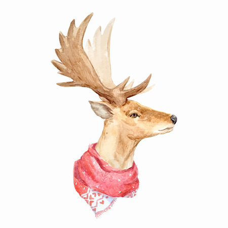 Watercolor deer vector portrait Stok Fotoğraf - 81378721