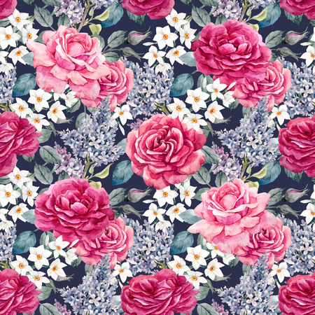Watercolor rose seamless vector pattern
