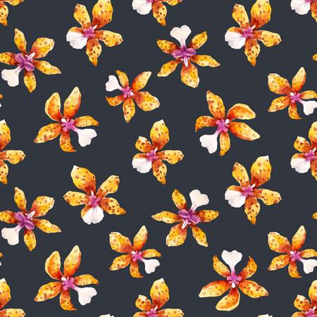 水彩の蘭の花トロピカル ベクトル パターン