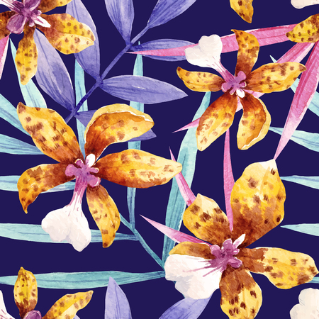Watercolor orchid flowers tropical vector pattern