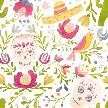 水彩ベクトル メキシコ スタイルのパターン